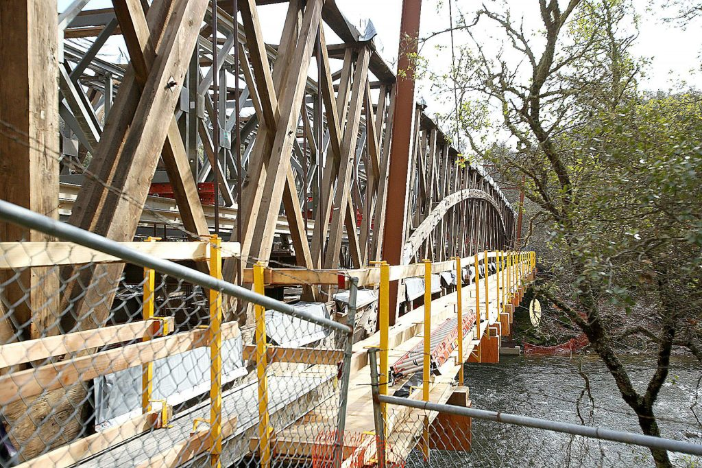 The bare bones of the 1862 Bridgeport Covered Bridge sit uncovered as restoration work continues at the South Yuba River State Park at Bridgeport.