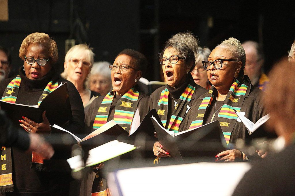 """Hundreds descended upon the Nevada Theatre Monday to celebrate Dr. Martin Luther King Jr. Day with the 38th annual King Day free gospel concert. Members of the Bethel A.M.E. Concert Choir as well as the MLK Mass Choir sang songs such as """"Old Time Religion,"""" """"Elijah Rock"""" and """"We Shall Overcome."""""""