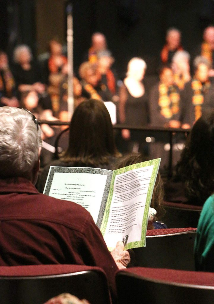 Monday's King Day free gospel concert included many songs where the audience was encouraged to sing along.