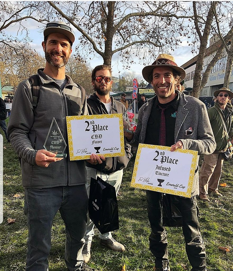From left, Sebastian Gotla of Foothill River Farms and Brian Chaplin of Medicine Box received awards at the Emerald Cup in December.