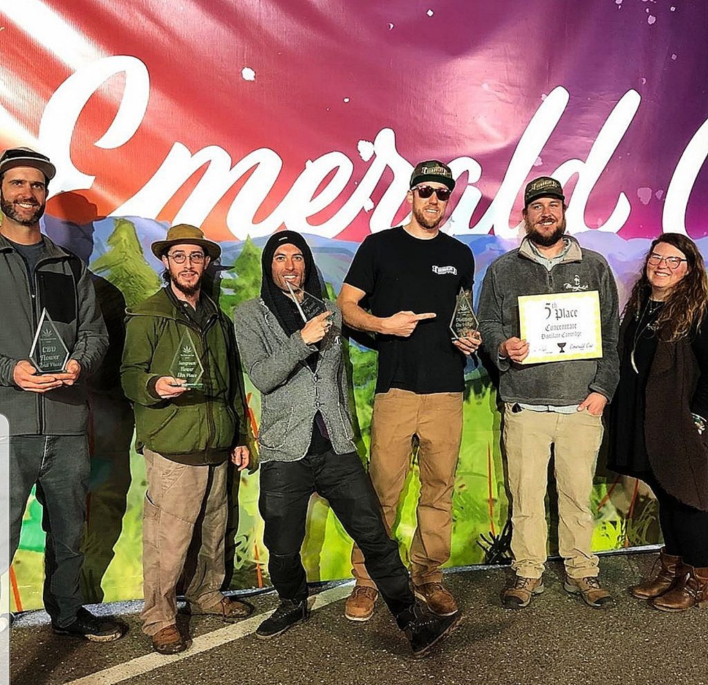 From left, Nevada County awardees include Sebastian Gotla of Foothill River Farms, Daniel Fink of Down Om Farms, Brian Chaplin of Medicine Box, Benjamin Lind of Bloomfield Manufacturing, Pete Laidlaw of Bloomfield Manufacturing and Linday Ragusa of Bloomfield Manufacturing.