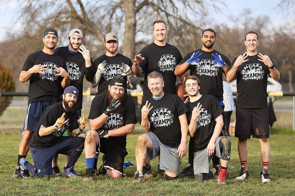 Tecmo won their third straight Nevada County Adult Sports Association Flag Football championship last Saturday. The team is comprised of (top row from left) Steve Lime, Connor Phillips, Austin Dowling, Matt Reiswig, Sio Veimau, Joe Cotney, (bottom row from left) Tommy Paone, Walter Ford, Scott Coffey and Colton Wood. Not pictured: Roland Harrison and Brandon O'Callaghan.
