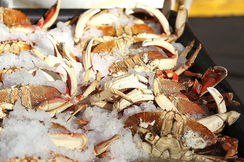 Crab from Littlefish Company was one of the fresh items brought in at the Nevada City Farmer's Market Saturday.