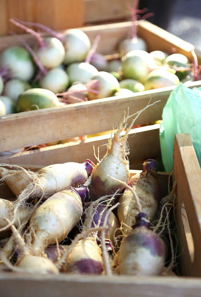 Rutabagas and more are offered from Fog Dog Farms during Saturday's Nevada City Farmer's Market.