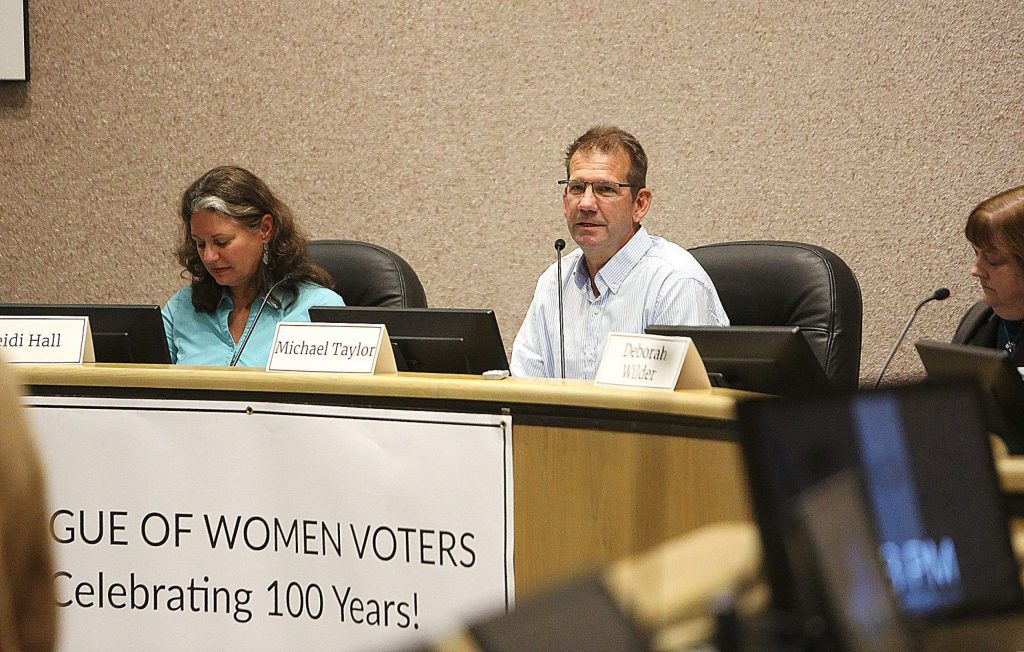 District 1 Supervisor candidate Michael Taylor answers questions during Thursday evening's League of Women Voters forum.
