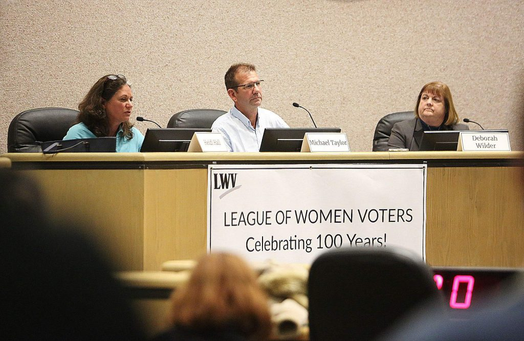 Supervisor District 1 incumbent Heidi Hall, from left, and challengers Michael Taylor and Deborah Wilder, were front and center answering questions from the public and the media during Thursday's League of Women Voters of Western Nevada County forum at the Eric Rood Administrative Center.