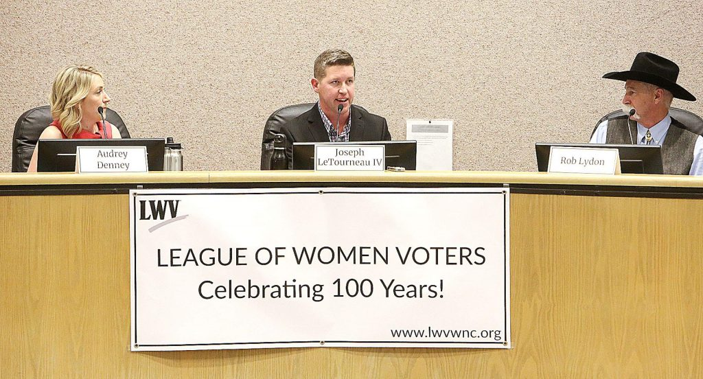 Audrey Denney, from left, Joseph LeTourneau IV, and Rob Lydon took turns answering questions from the media, the public, and the League of Women Voters of Western Nevada County during Thursday's 1st Congressional District candidates forum.