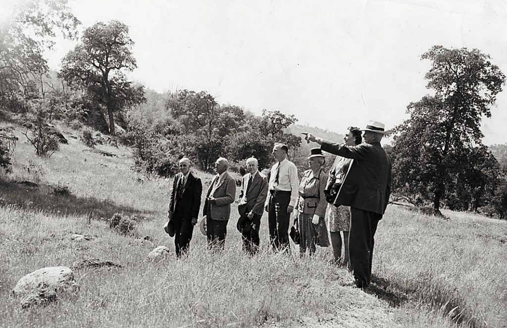 Nevada County Historical Society founders on a field trip in 1947. Morning Union editor Edmund Kinyon is third from left; Doris Foley, second from right.