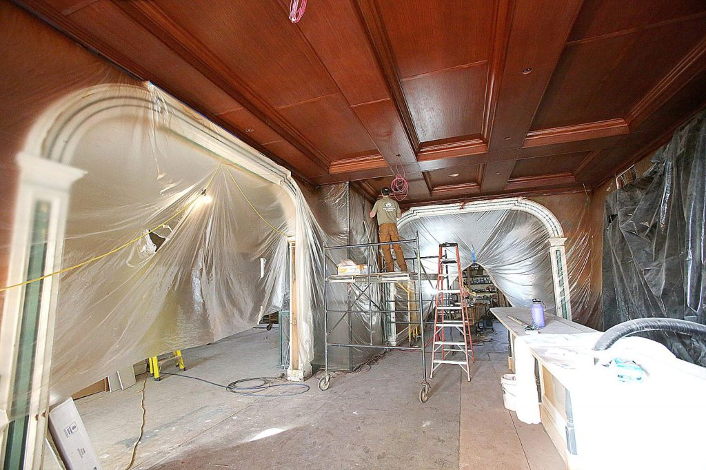 The Golden Gate Saloon's ceiling has gotten a makeover as the reopening date of the Holbrooke Hotel nears.