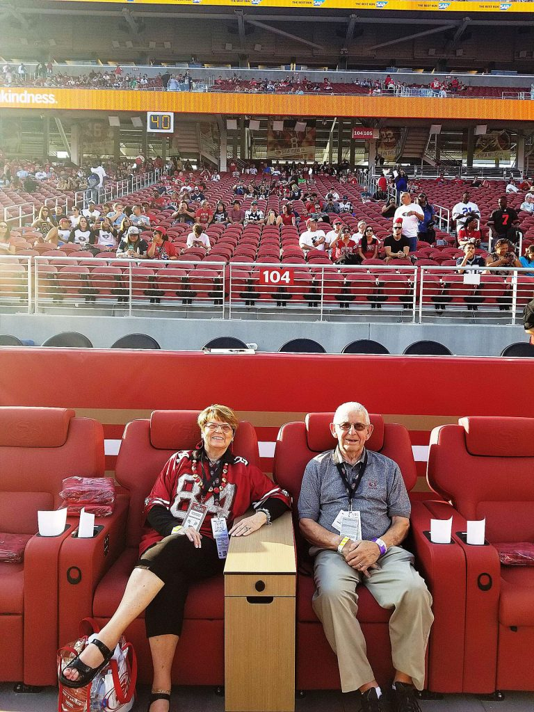 You can't get much closer than the end zone field seats of Janie and Tom Marini. The Grass Valley couple, who celebrate 40 years of marital bliss this month, have been attending San Francisco 49er games for 40 years.