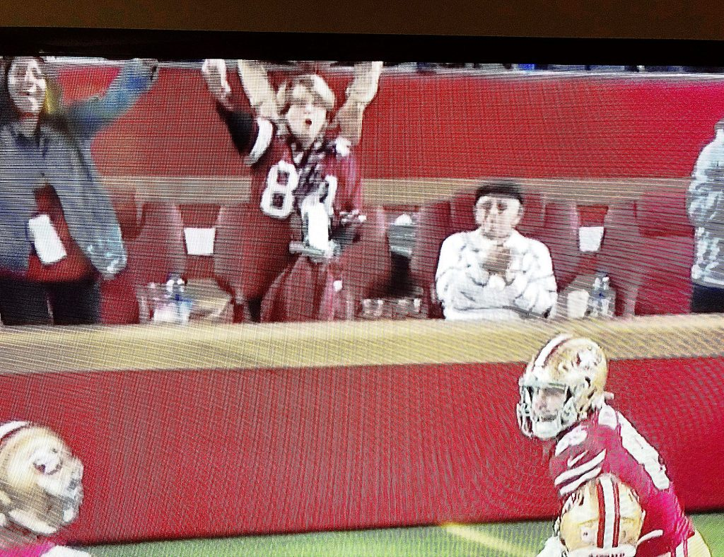 Janie Marini, center, owner of Marini Accounting and Tax Company, is a die-hard 49er fan who loves to celebrate with the players when they score near her end zone field seat. Janie's husband, Tom, is seated at left in this shot that was displayed on Levi Stadium's jumbotron and used as the cover for the Marini's Christmas card.