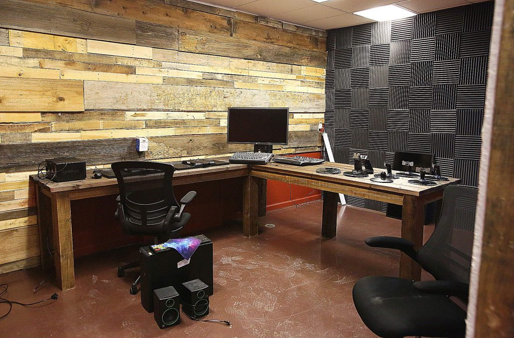 The new digs for Nevada County Media include multiple audio visual editing rooms such as this one.