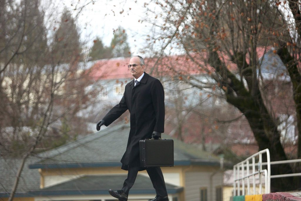 Stephen Munkelt walks away from the Nevada County Courthouse where he is a regular face.