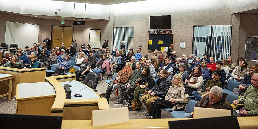 Audience members listen to candidates for the Nevada City City Council Monday night at a forum hosted by the League of Women Voters of Western Nevada County at the Nevada County Board of Supervisors Chambers.