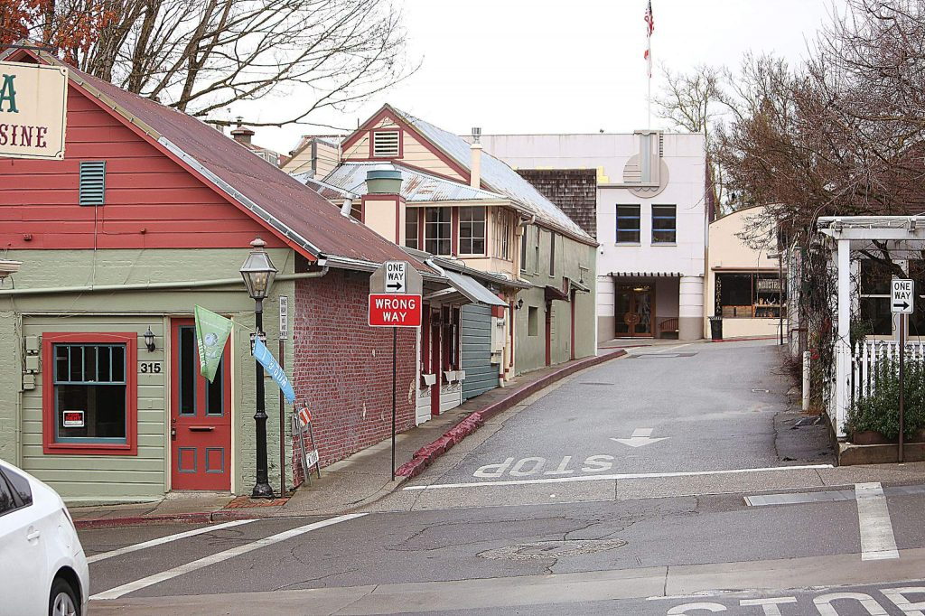 The one-way intersection of York and Commercial streets in Nevada City.