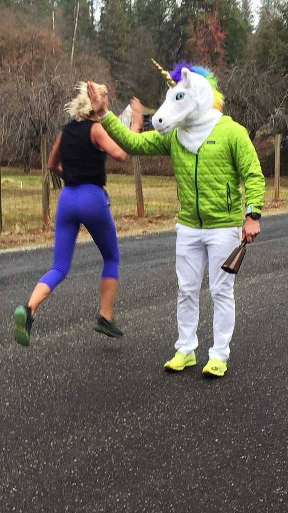 Runner gets High-5 during the Resolve2Run 5K/10K on New Year's Day.