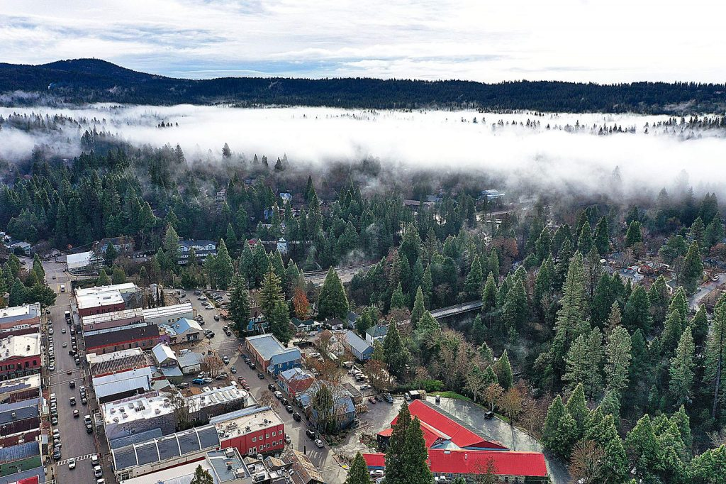 Fog over Nevada City back in December.