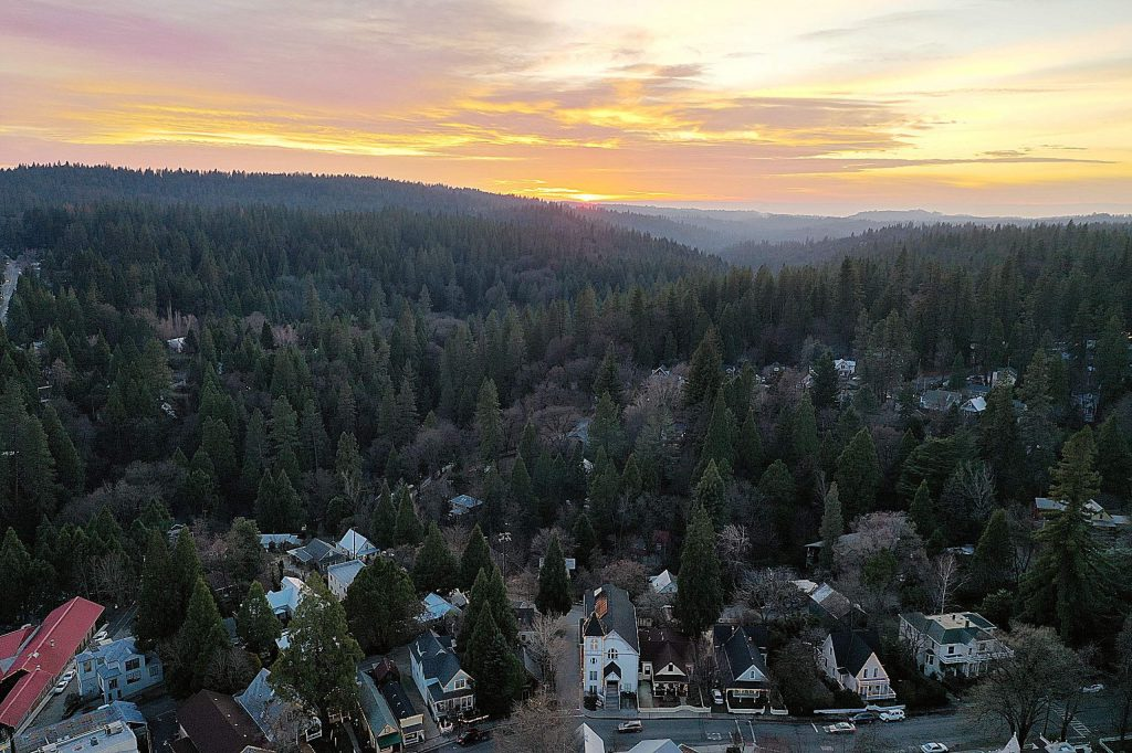 Sunset in Nevada County on January 1, 2020.