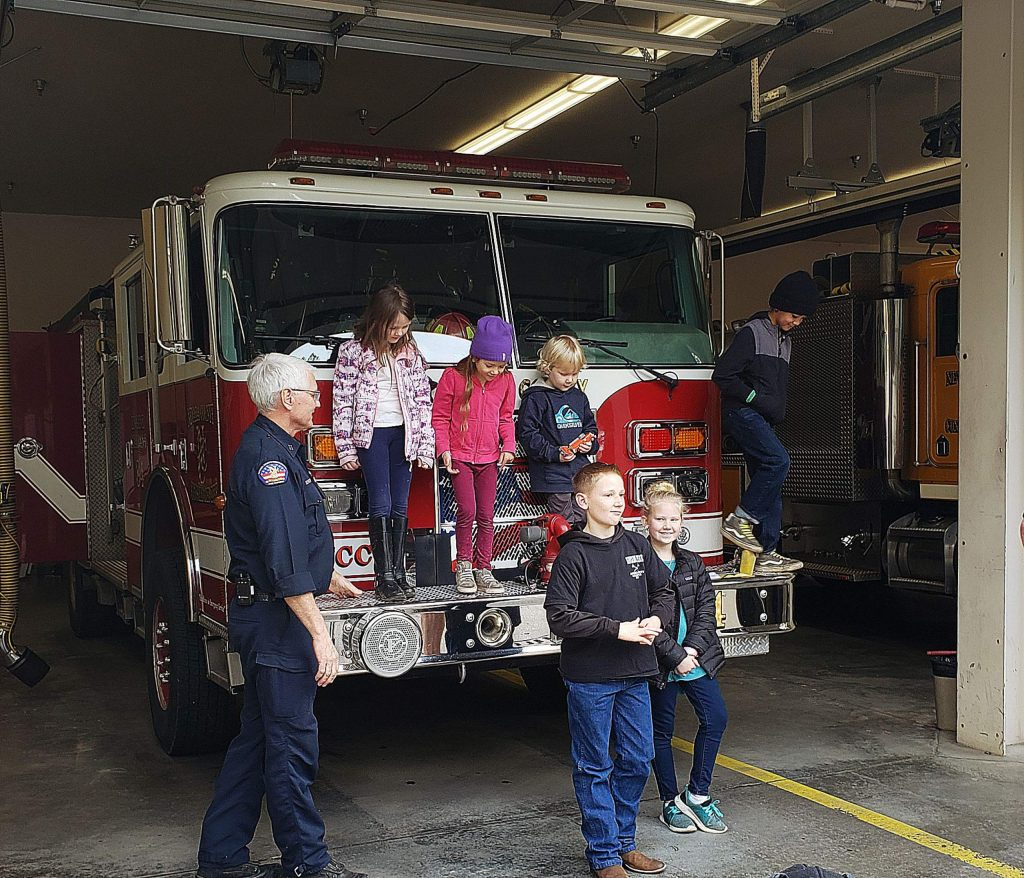 Touring the Fire Station on a school field trip.