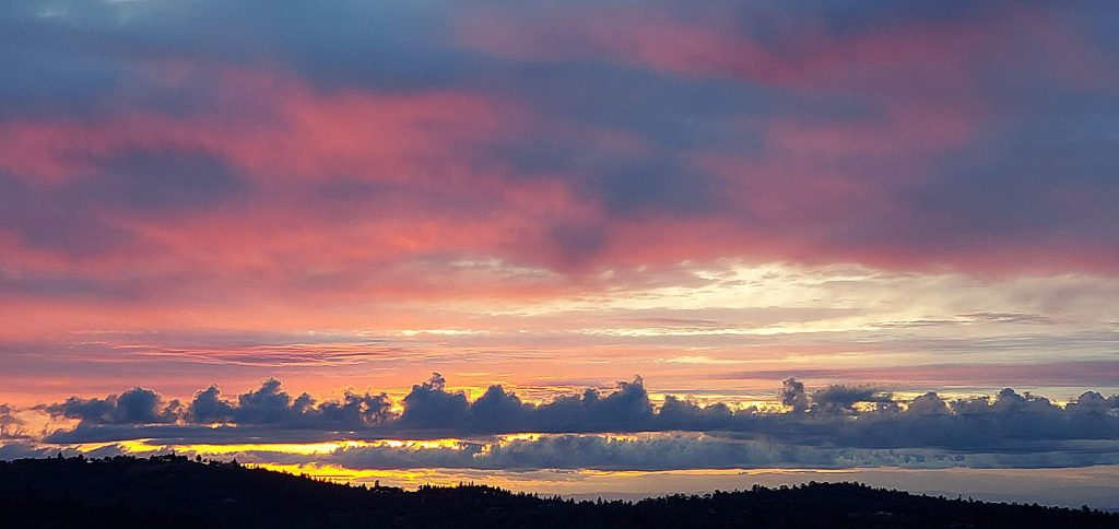 Gorgeous sunset looking west from our deck in Penn Valley.