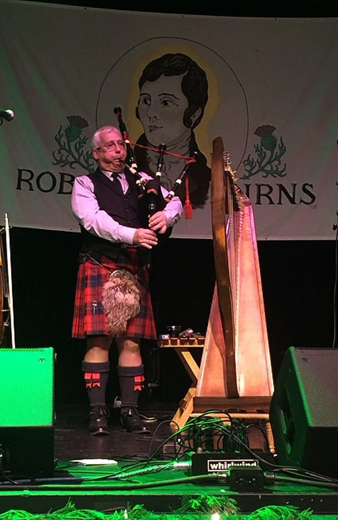 """Mike Carr plays """"Amazing Grace"""" on the bagpipes at the Gold Country Celtic Society's Robert Burns Night."""