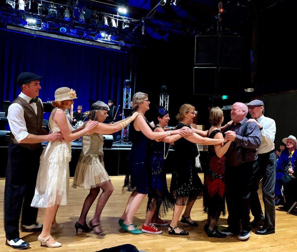 Grass Valley locals and even the Sacramento Swing Dance Crowd in period costumes dancing to live swing music at the Miners Foundry Sunday, Jan. 26 for the Chocolate Infusion event.