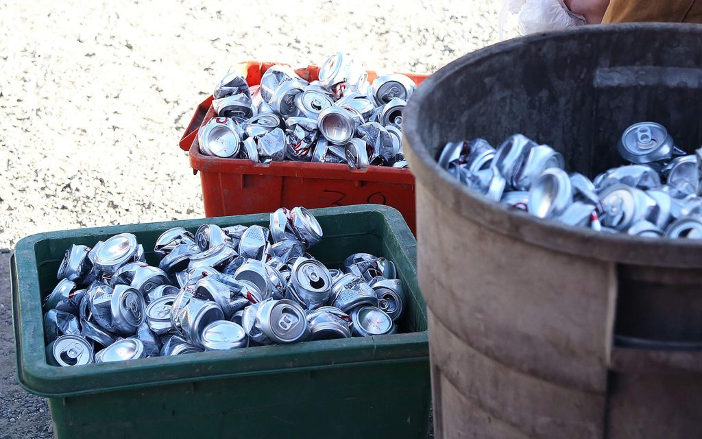 Piles of aluminum cans await to be recycled at Grass Valley Recycle off Idaho Maryland Road. The recycling center is remaining open only during the week these days, and exists in a more limited capacity.