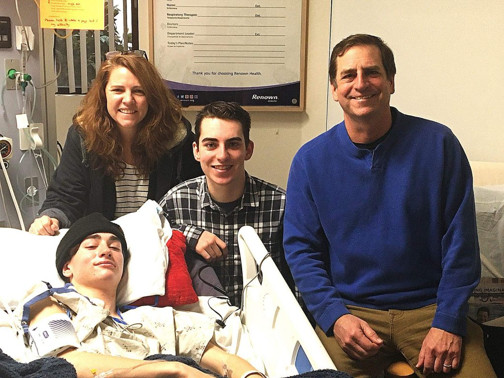 Ryan, left, Yolanda, Kellen and Rich Bodine. On Jan. 20, Ryan went snowboarding at Sugar Bowl Ski Resort, and landed awkwardly on his first run and sustained a severe spinal injury. He has been recovering at a hospital in Reno with support of family and friends.