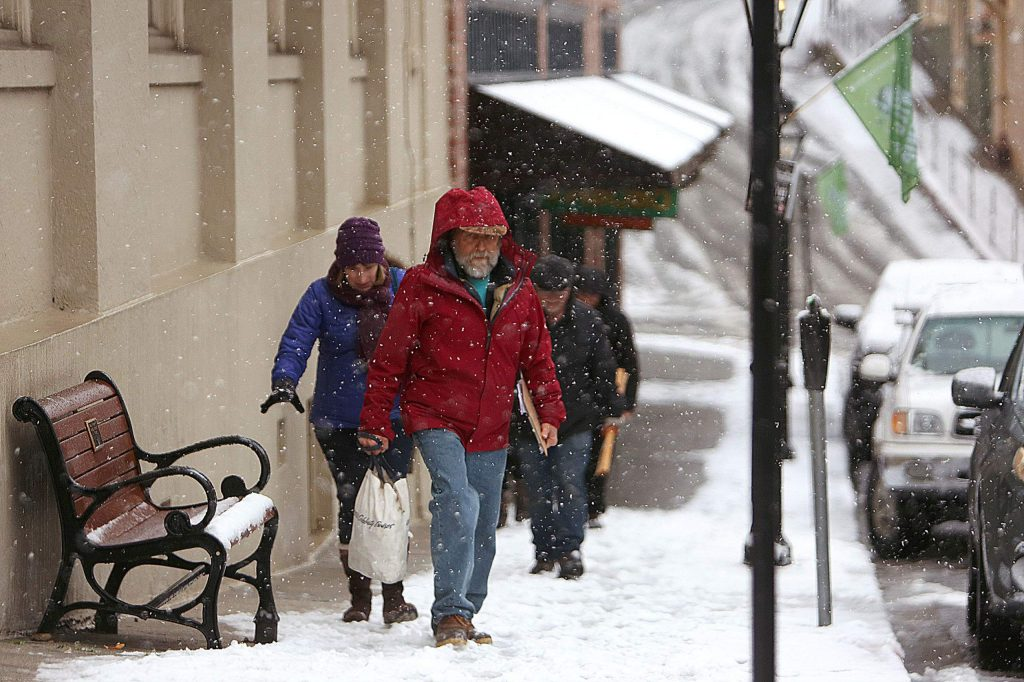 The snow didn't deter many from enjoying the historic streets of downtown Nevada City during the recent snow storm.