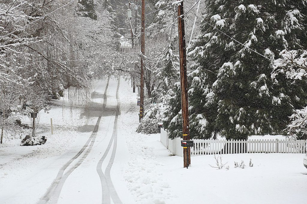 A single set of tracks were the only ones to pass along Alexander Road following the low snow storm Thursday afternoon in Nevada City.