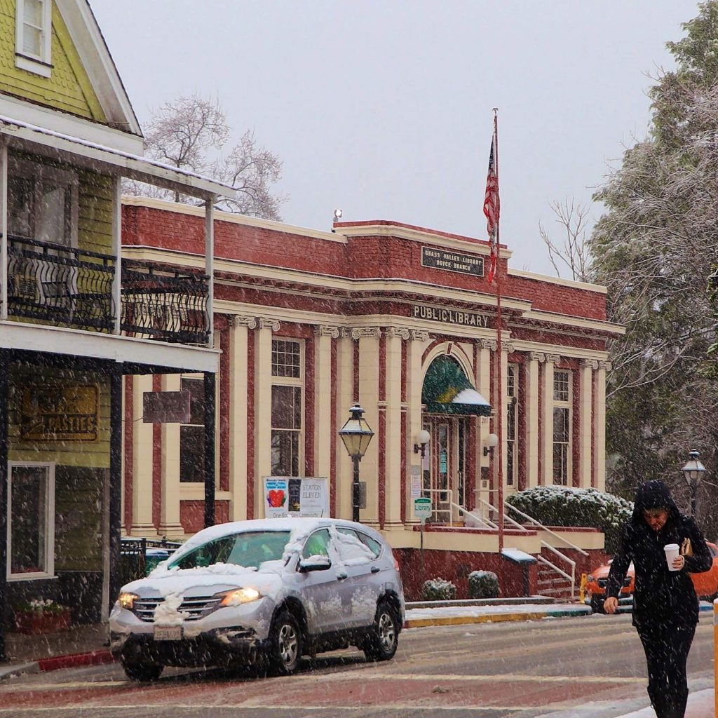 Snowy downtown Grass Valley yesterday.