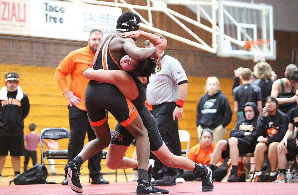 Bear River's Gabe Ellis works to take down his Foothill High School opponent, Ed Marshall in the 172 pound match.