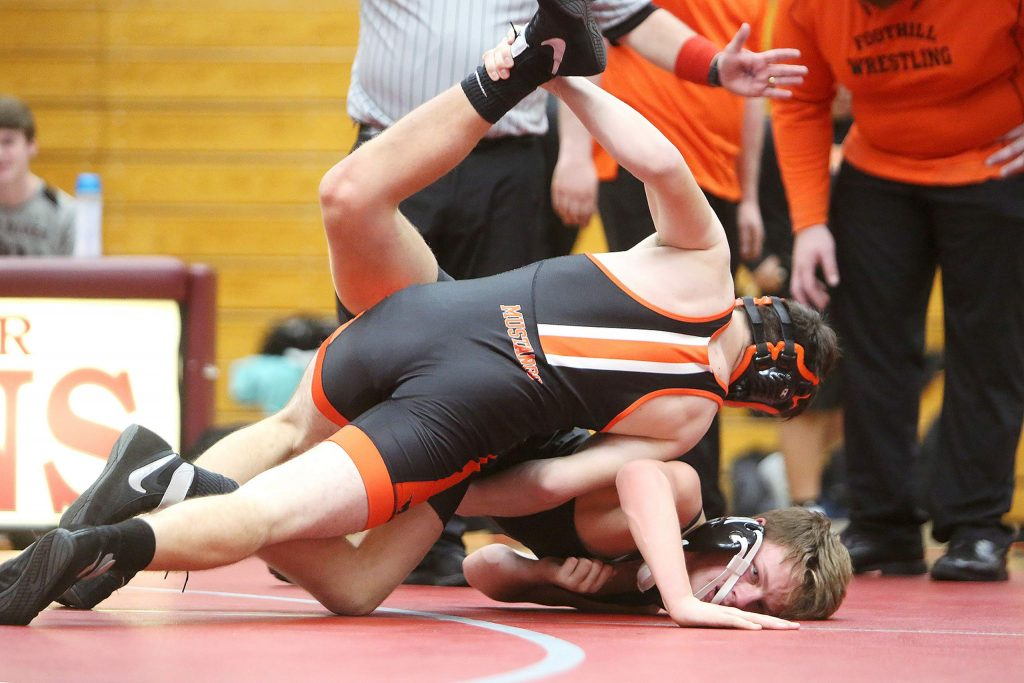 Foothills' Raiden Hadley twists up his Bear River opponent during Thursday evening's wrestling meet.