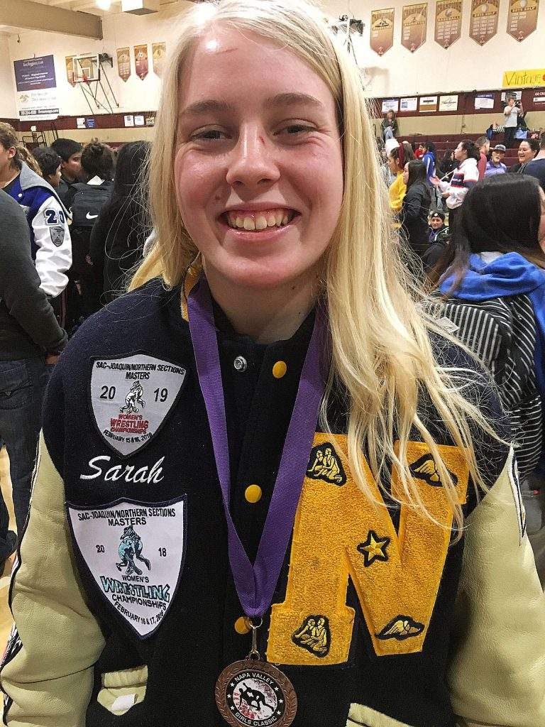 Nevada Union's Sarah Skotnicki impressed on the mat at the highly competitive Napa Valley Girls Tournament last Saturday. The senior wrestler won multiple matches and finished in sixth place in her weight class at the highly regarded tourney, which featured around 700 wrestlers from 140 different schools.