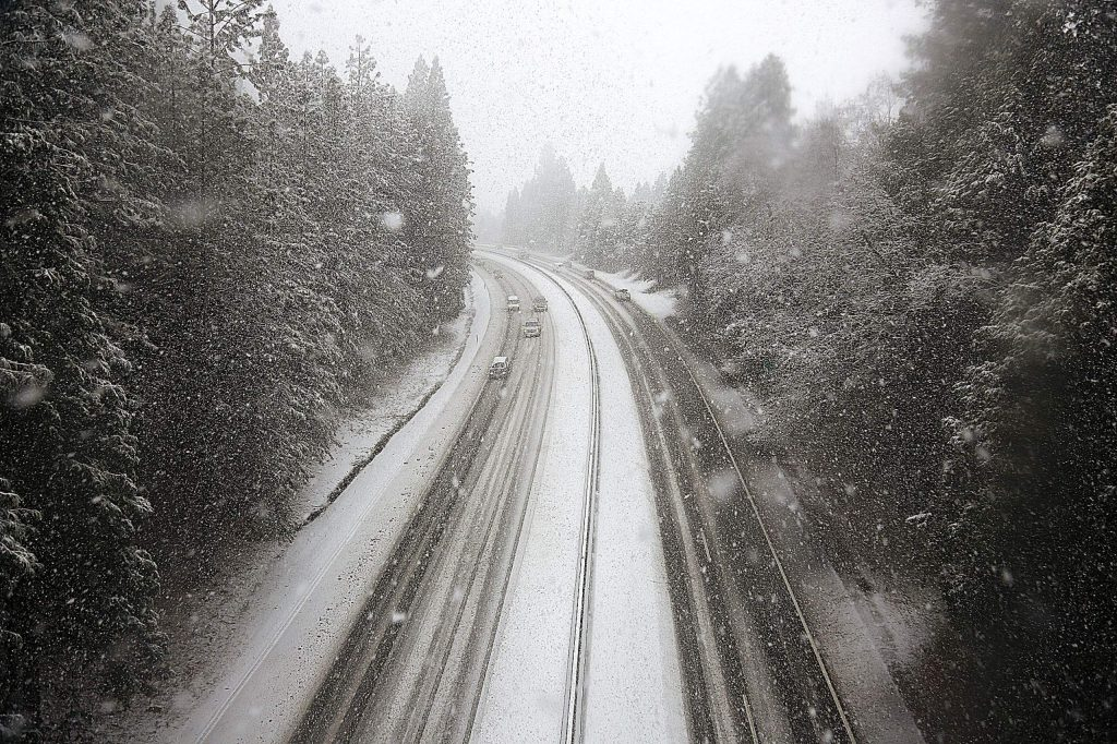 Traffic slowed along Highway 49 between Grass Valley and Nevada City where multiple spinouts occurred during Thursday's low snow.