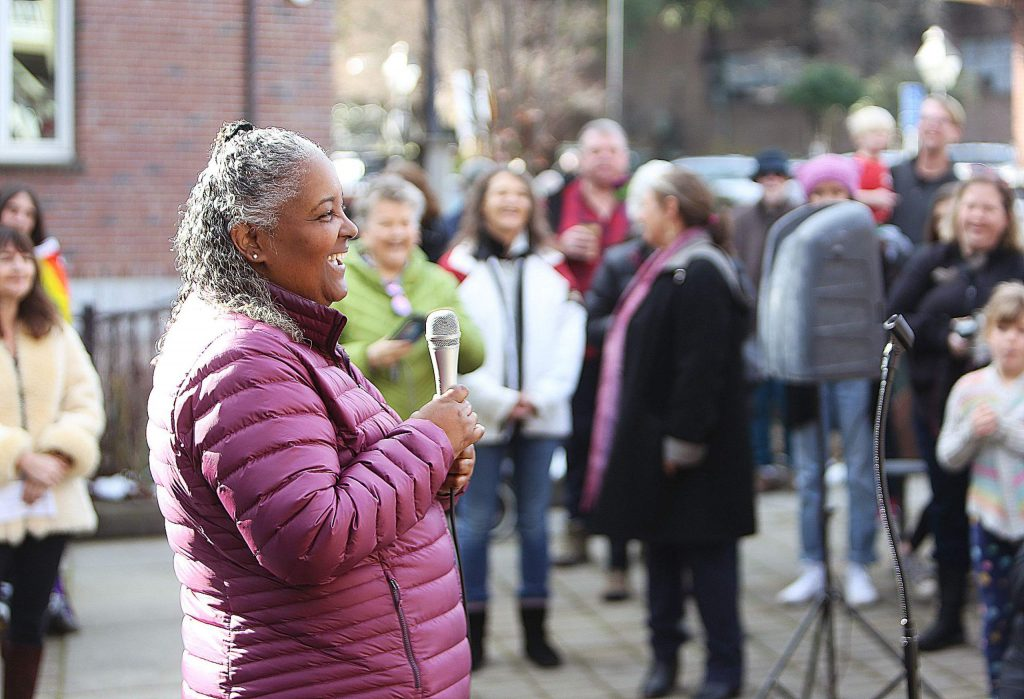 Teresa Baker, founder of Outdoor CEO Diversity Pledge and African American Nature & Parks Experience, helped kickoff the women's march in Robinson Plaza along with other speakers including Shelly Covert, Heidi Hall, and Osprey Orielle Lake.