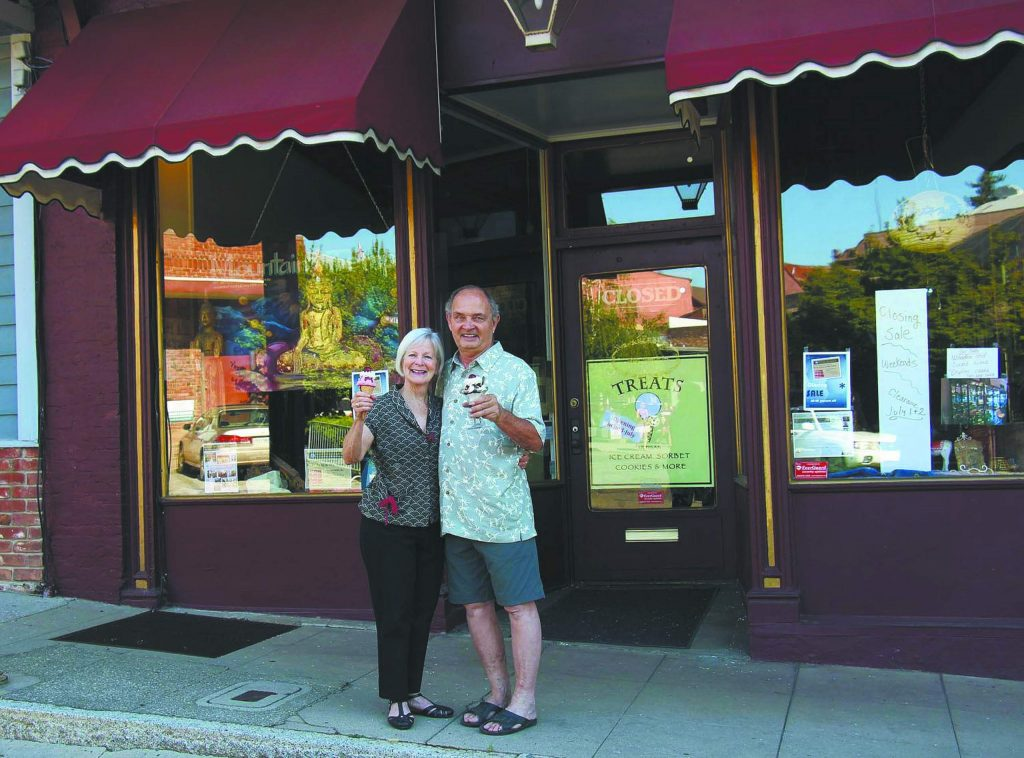 Bob and Peggy Wright enjoying scoops of Treats Ice Cream at 210 Main Street, Nevada City.