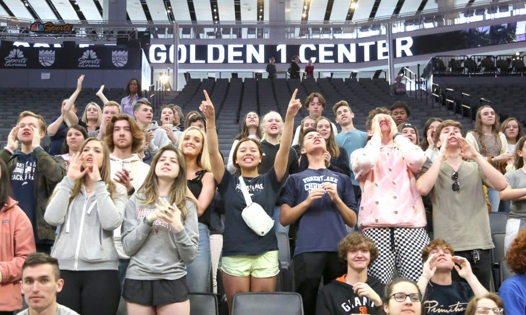 School was cancelled for the day at Forest Lake Christian to allow for their student base and families to root for the Falcons at the Golden 1 Center in Sacramento.