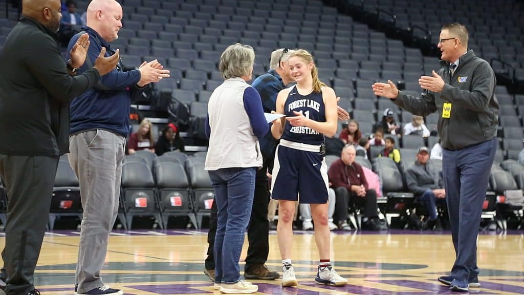 Forest Lake Christian senior Amber Jackson was awarded the spirit of sport award by members of the Sac-Joaquin Section during halftime of the game.