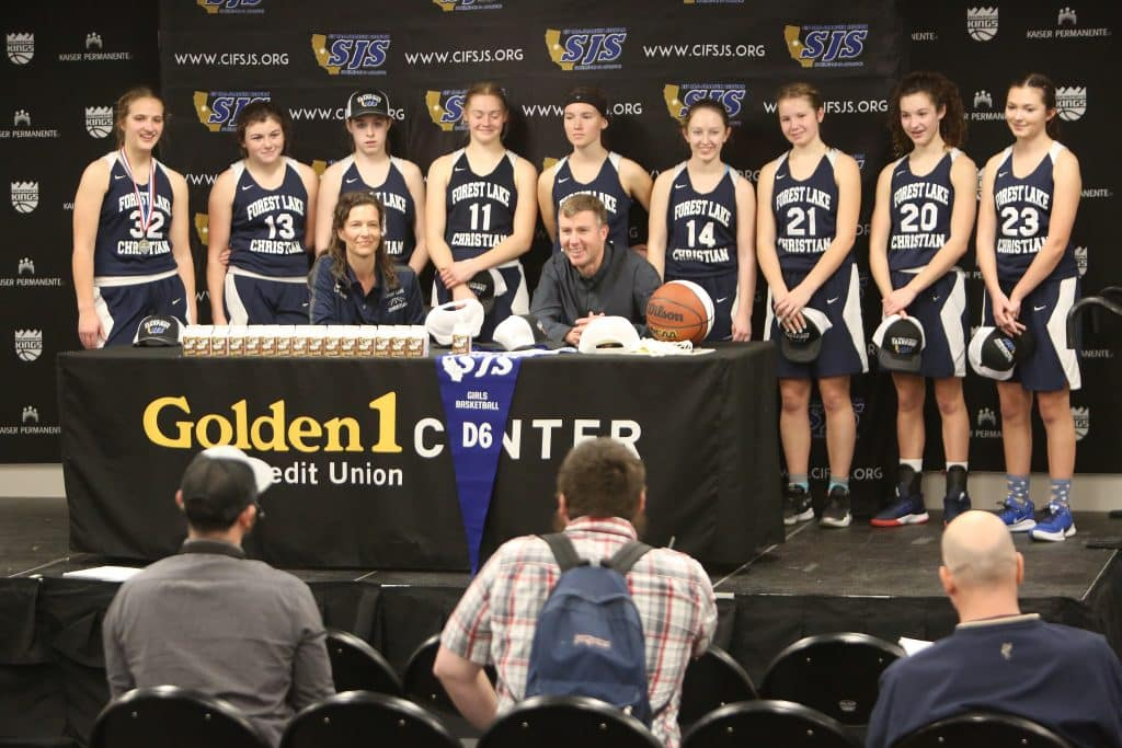 The Lady Falcons and coaches answer questions from the media following their D-6 championship win.
