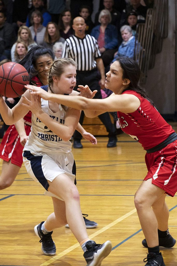 Forest Lake Christian's Ellie Wood scored seven points, grabbed seven rebounds and nabbed seven steals in the Lady Falcons' semifinal win over Sacramento Adventist Monday night.