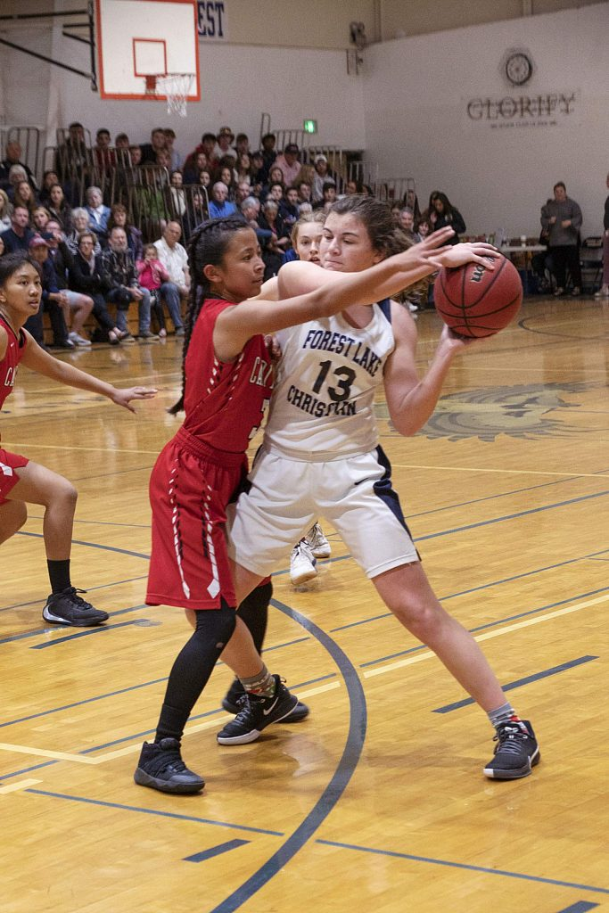 Forest Lake Christian's Ali McDaniel tallied a triple-double with 11 points, 12 steals and 11 rebounds in the Lady Falcons' semifinal win over Sacramento Adventist Monday night.