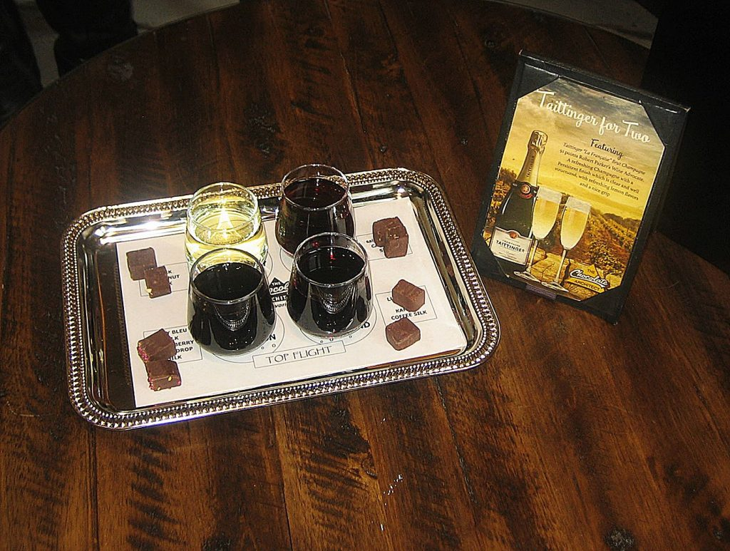 Now with 80 different flavored chocolates, Becki Tyner offers 12 wine and chocolate pairings. Each pairing includes four wines, each with its own chocolate. Various flights incorporate sparklers, rosés, whites, reds and dessert wines.