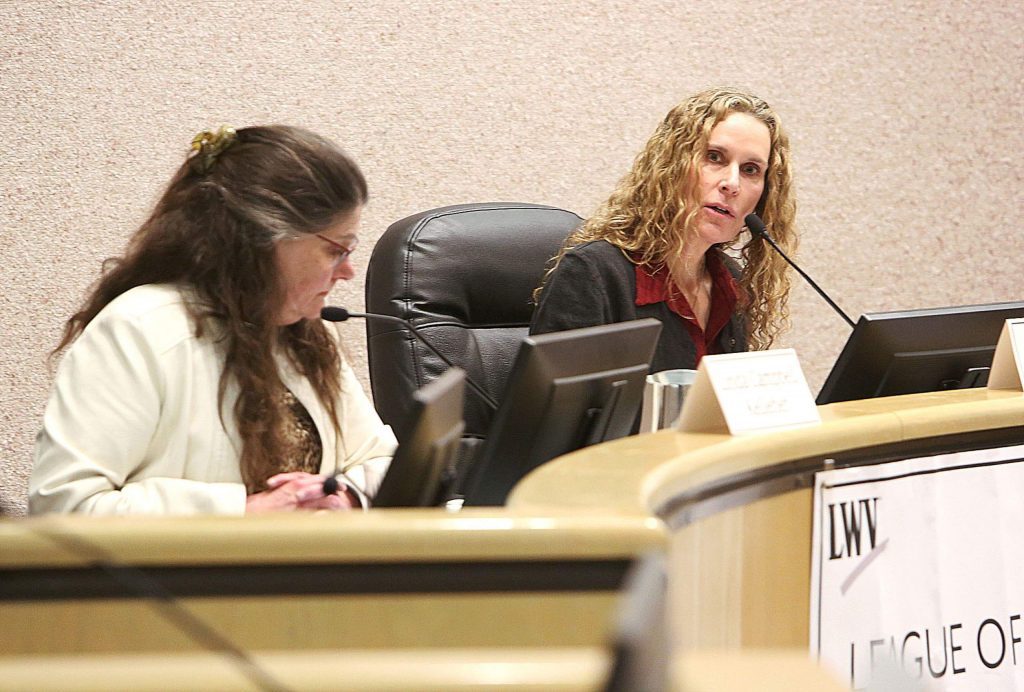 Pamela Dawn Swartz, right, is running as a Democrat. Linda Kelleher is a no party preference candidate.