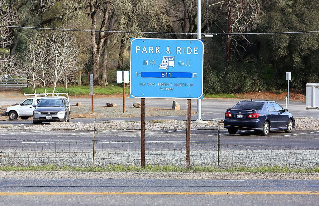 This Caltrans Park & Ride near the intersection of Highway 20 and Rough and Ready Highway in Rough and Ready is one of over 200 sites that may be opened up to sheltering homeless after a decision by Governor Gavin Newsom.