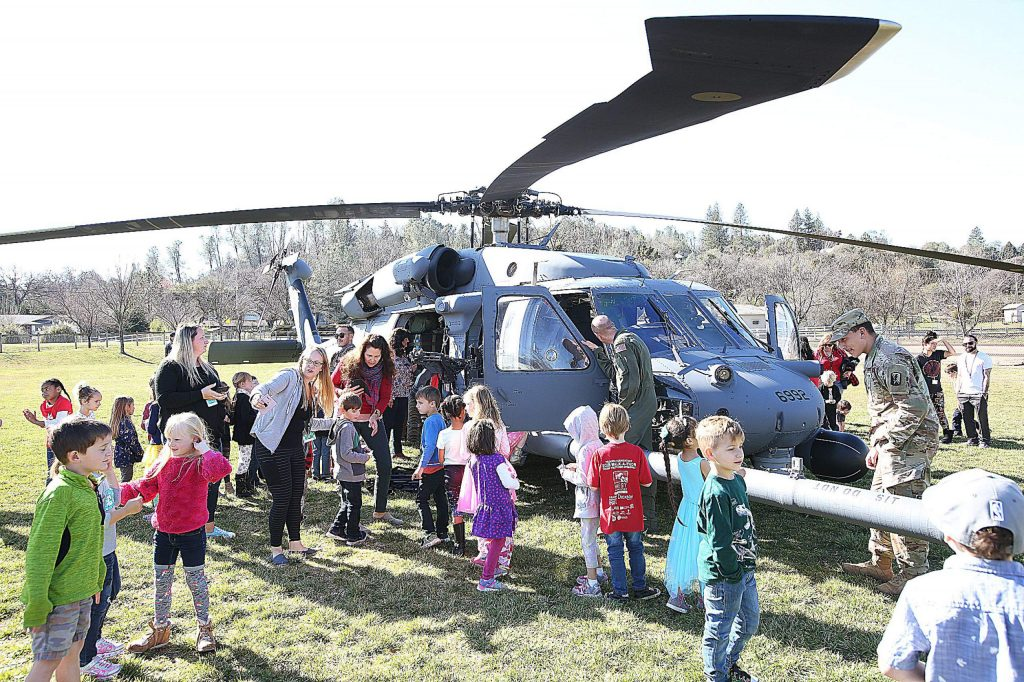 Williams Ranch Elementary School students got a close look at an HH-60G Pave Hawk helicopter that landed at the school Thursday morning.
