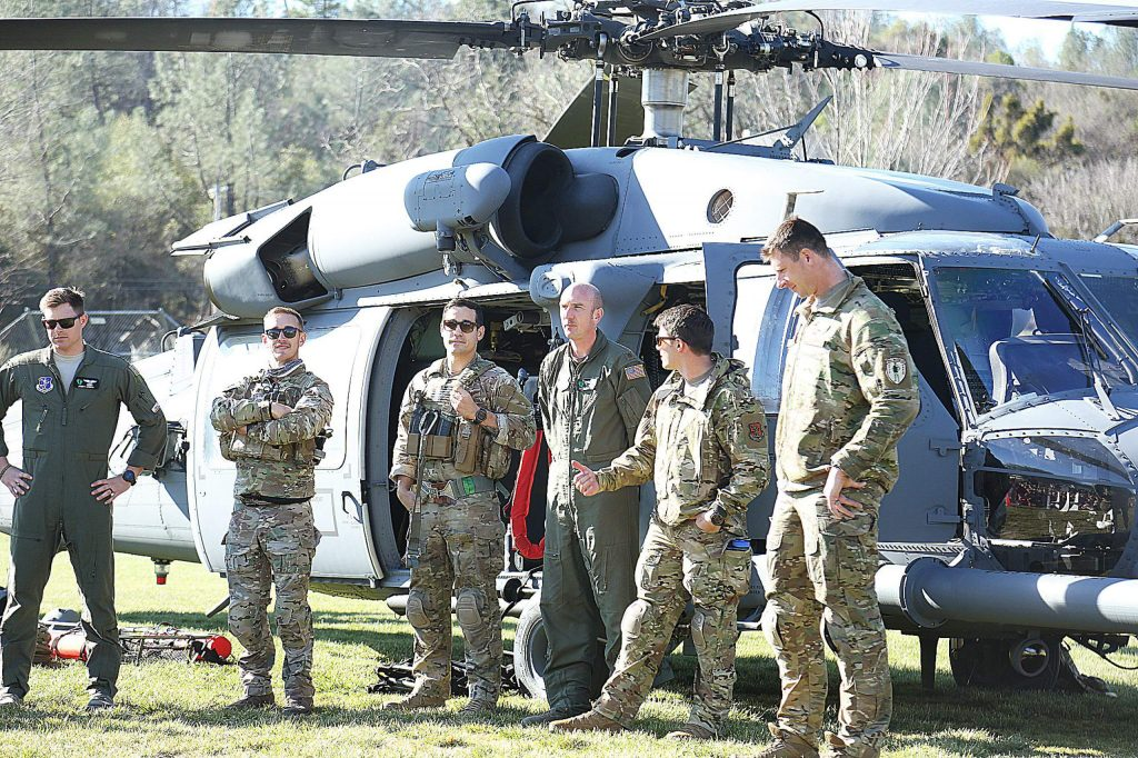 The crew of the HH-60G Pave Hawk helicopter talks to the students of Williams Ranch Elementary School and tells them to stay away from drugs.