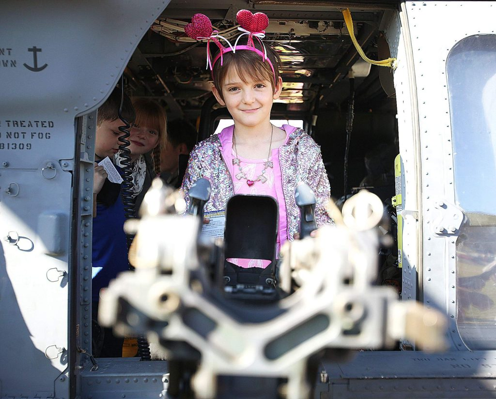 The students of Williams Ranch were able to inspect the Pave Hawk helicopter as part of Thursday morning's special event at the school.