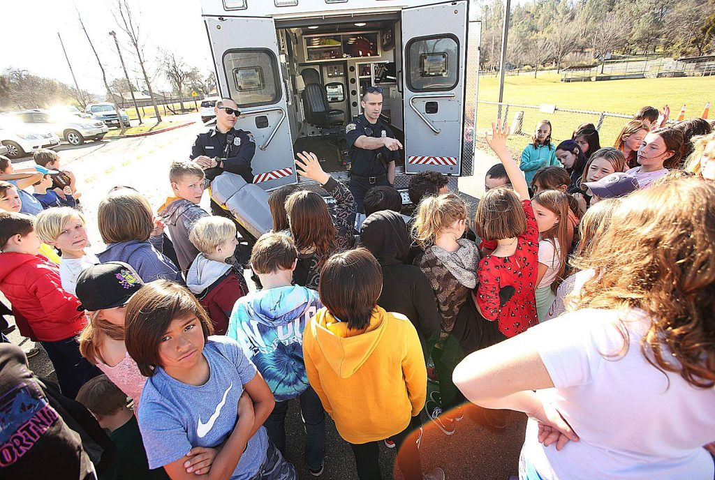 A Penn Valley ambulance was on scene to show the Williams Ranch School students a little about what they do to help keep people safe.