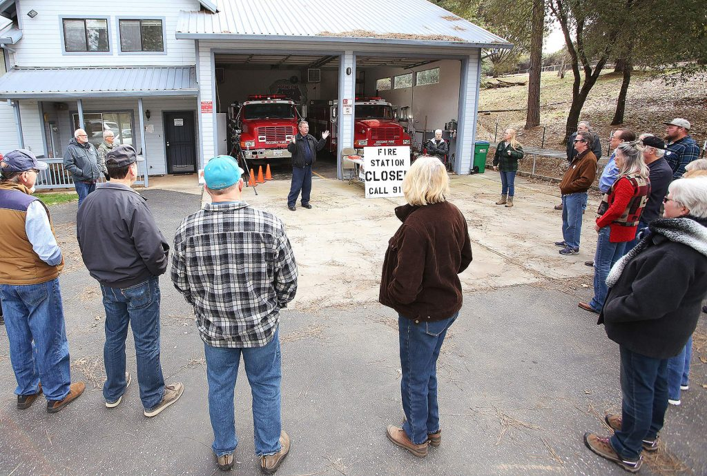 A few dozen South County residents within the Higgins Fire District gathered at the now closed Fire Station 22 off of Dog Bar Road for a Measure I rally. The tax would raise funds that would help reopen the fire station among other things.